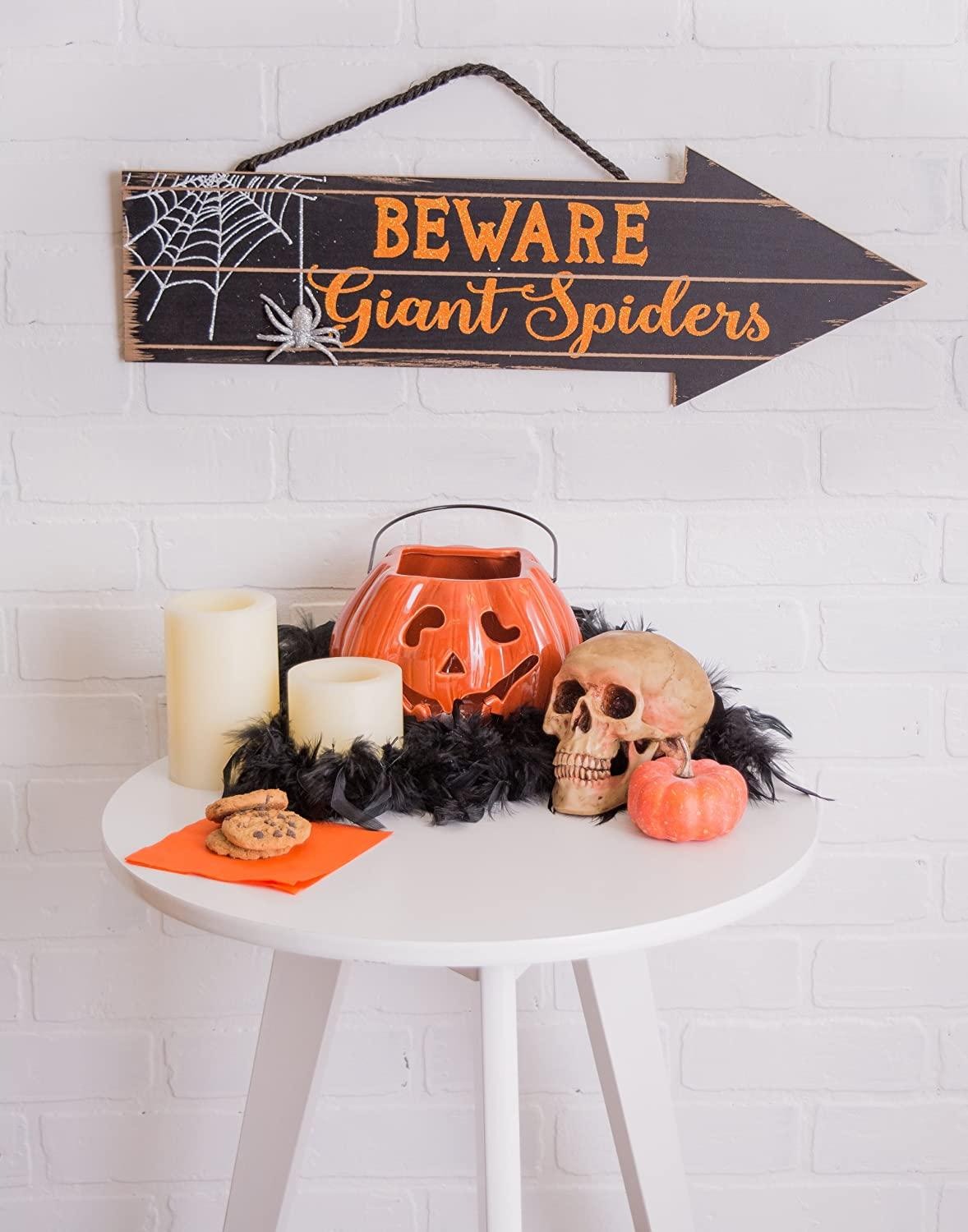 DII Indoor and Outdoor Foam Halloween Hanging Door Decorations and Wall Signs School Spiders Party Decorations For Home Office Set of 2