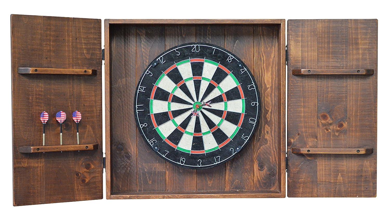 国素朴なウッドとアイアン手作りDart Board壁キャビネット B01MPXGG8Z