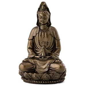 Top Collection Small Quan Yin Decorative Statue - Hand-Painted Guan Yin Sculpture with Bronze Finish Look - 3-Inch East Asian Deity Goddess of Compassion and Mercy Figurine