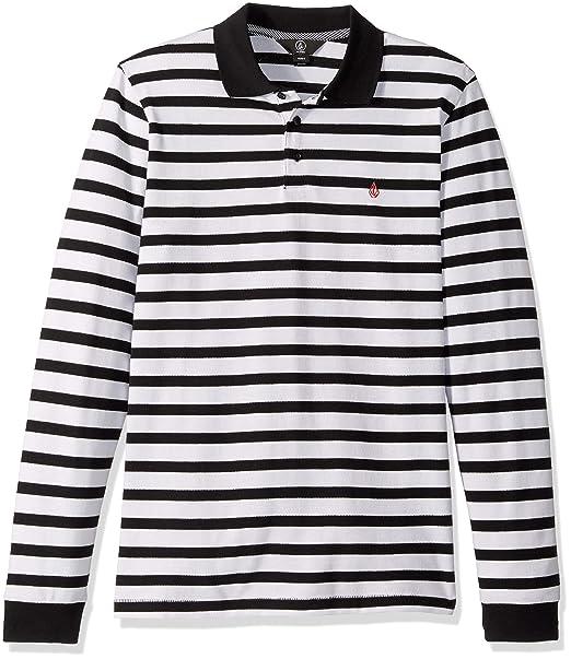 Volcom Mens Gon James Striped Long Sleeve Polo Shirt: Amazon.es ...