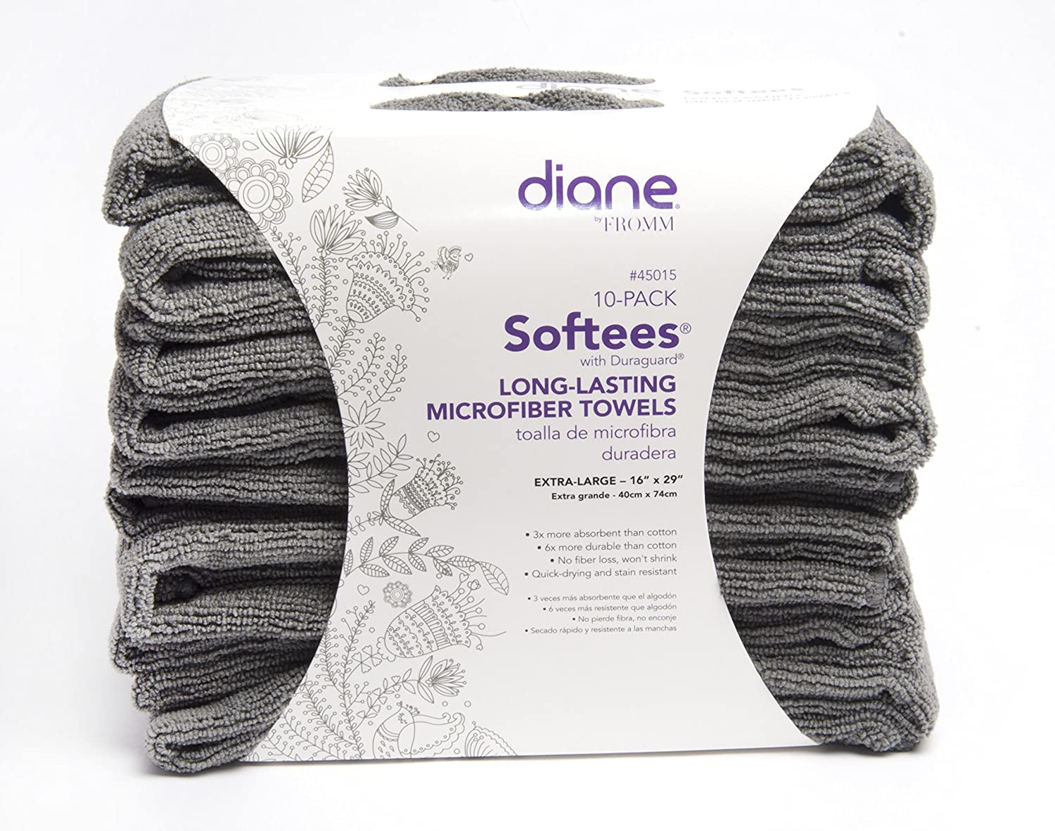 Amazon.com : Diane Softees with Duraguard, Grey, 10 Pack, 45015 : Hair Drying Towels : Beauty