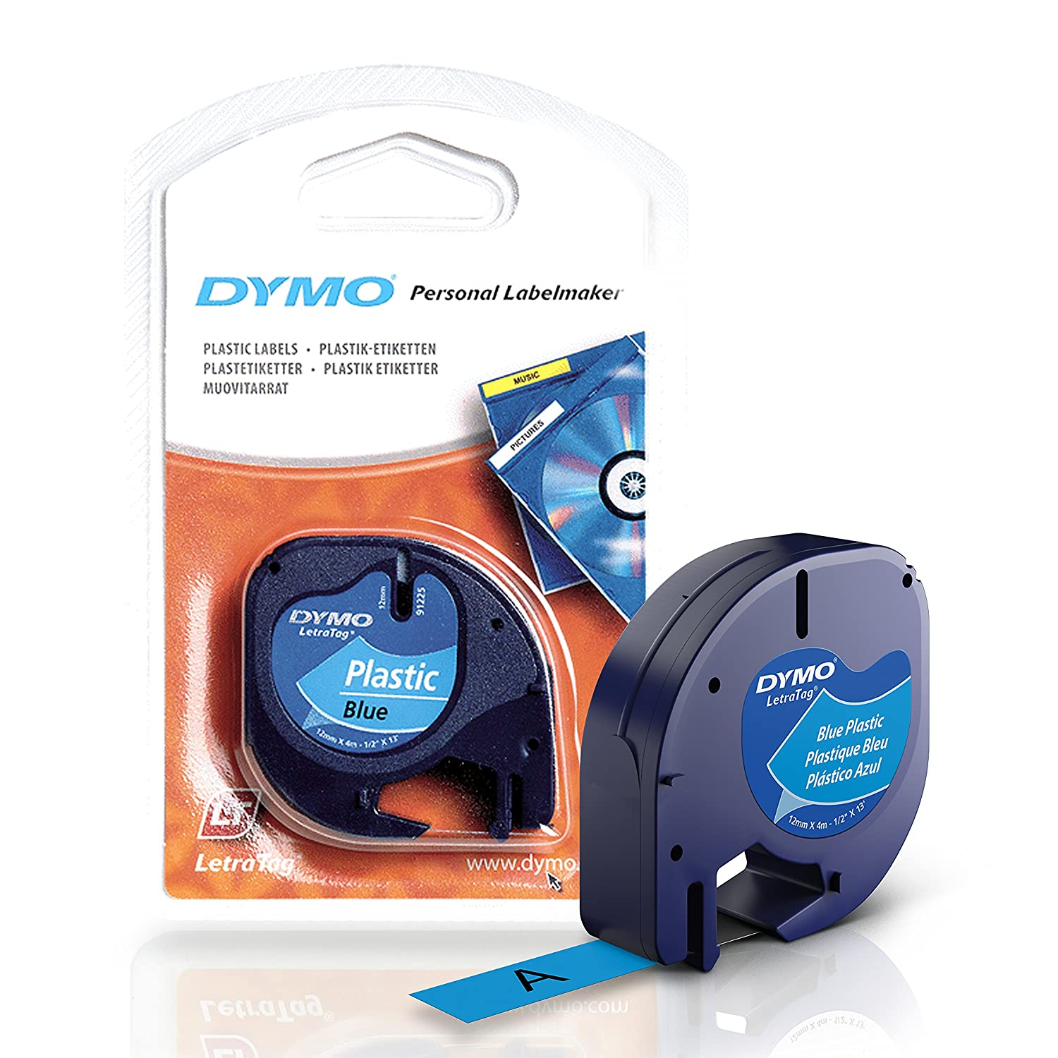 DYMO LetraTag Labeling Tape for LetraTag Label Makers, Black print on White paper tape, 1/2'' W x 13' L, 2 rolls (10697) 1/2'' W x 13' L