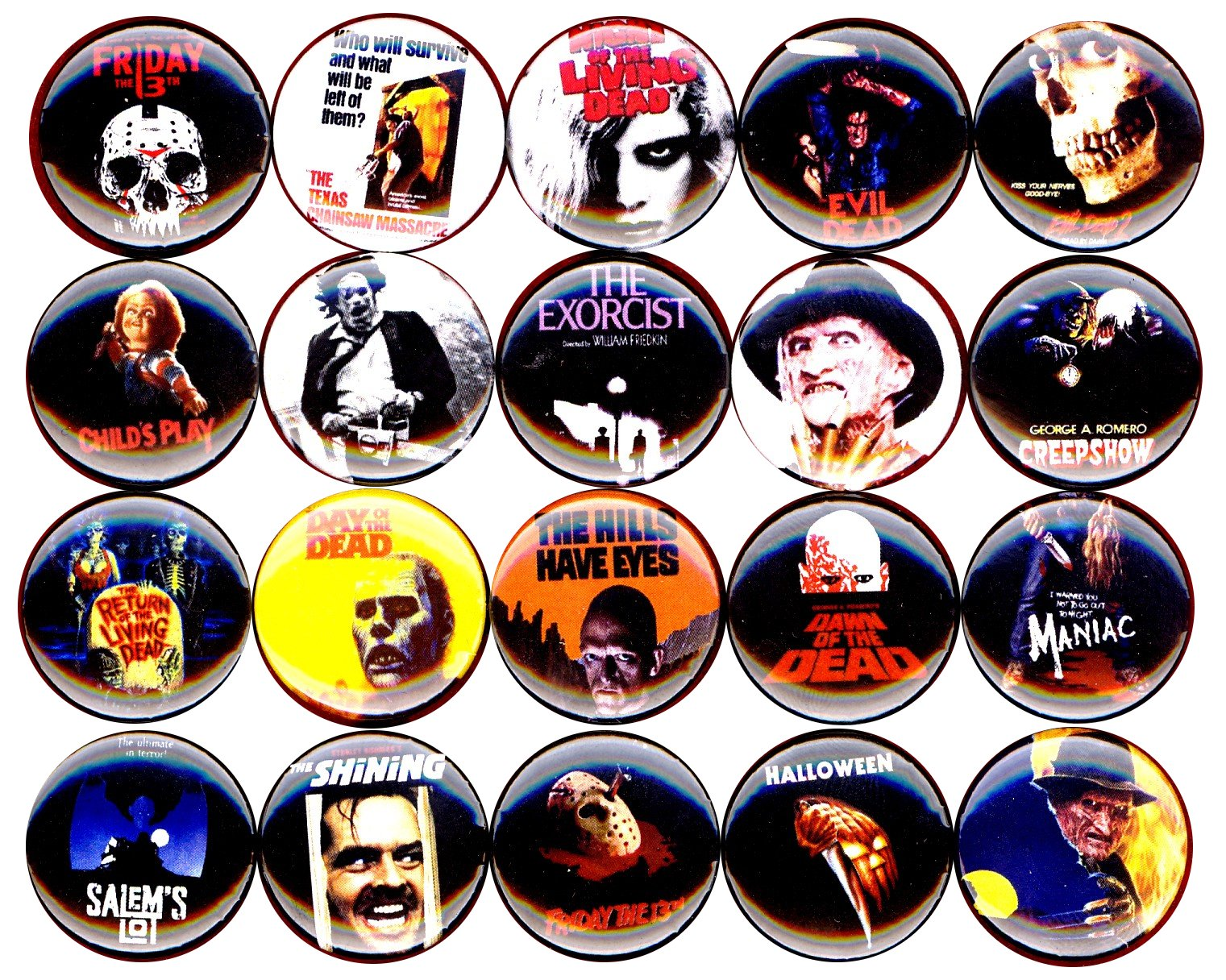 Horror Movie buttons pins badges 20 NEW 1'' inch (25mm) Texas Chainsaw Massacre George A Romero Dawn …