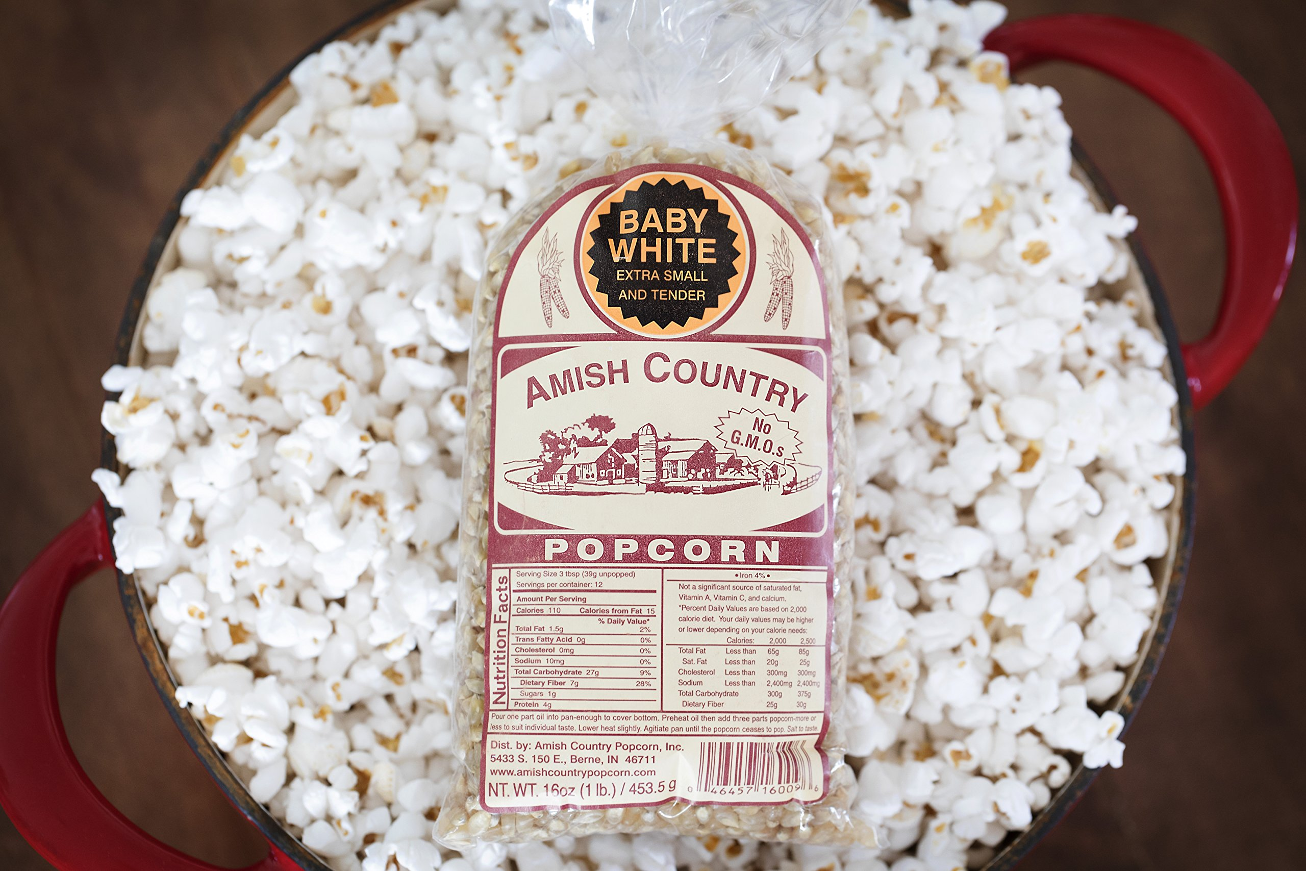 Amish Country Popcorn - Baby White (1 Pound Bag) Small & Tender Popcorn - Old Fashioned And Delicious, with Recipe Guide by Amish Country Popcorn (Image #4)