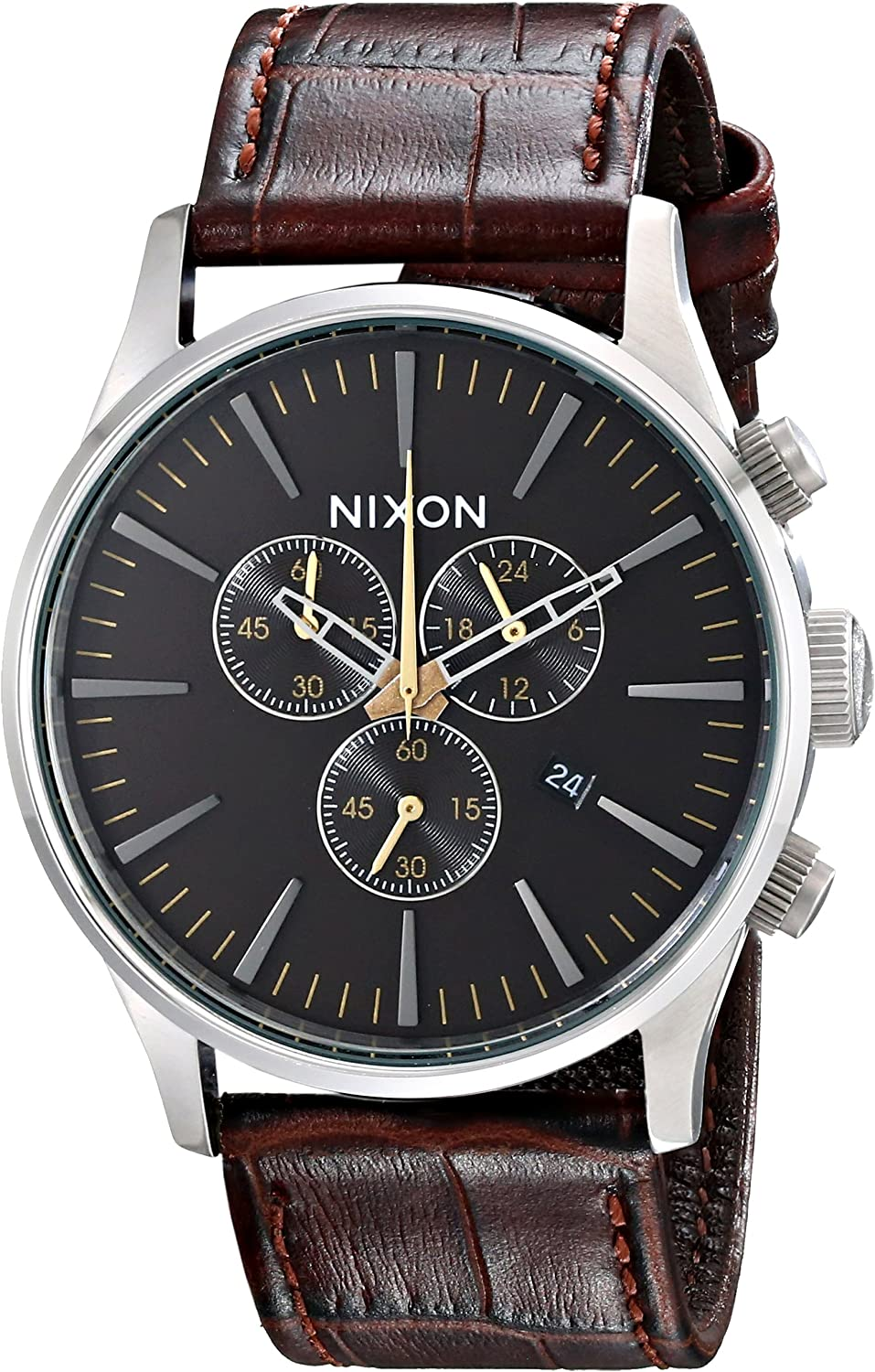 Nixon Men s Sentry Stainless Steel Chronograph Watch with Leather Band