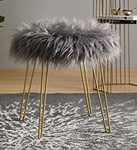 """Ornavo Home Modern Contemporary Faux Fur Round Ottoman Foot Rest Stool/Seat with Gold Metal Legs - 17"""" L x 17"""" W x 18"""" H (Grey)"""