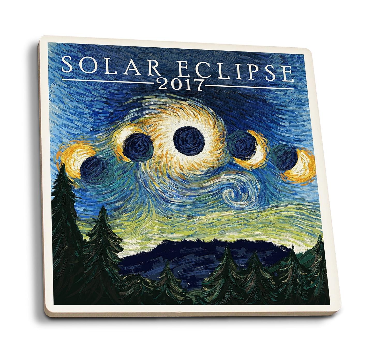 Solar Eclipse 2017 – Starry Night 4 Coaster Set LANT-80478-CT B079YN174P 4 Coaster Set4 Coaster Set
