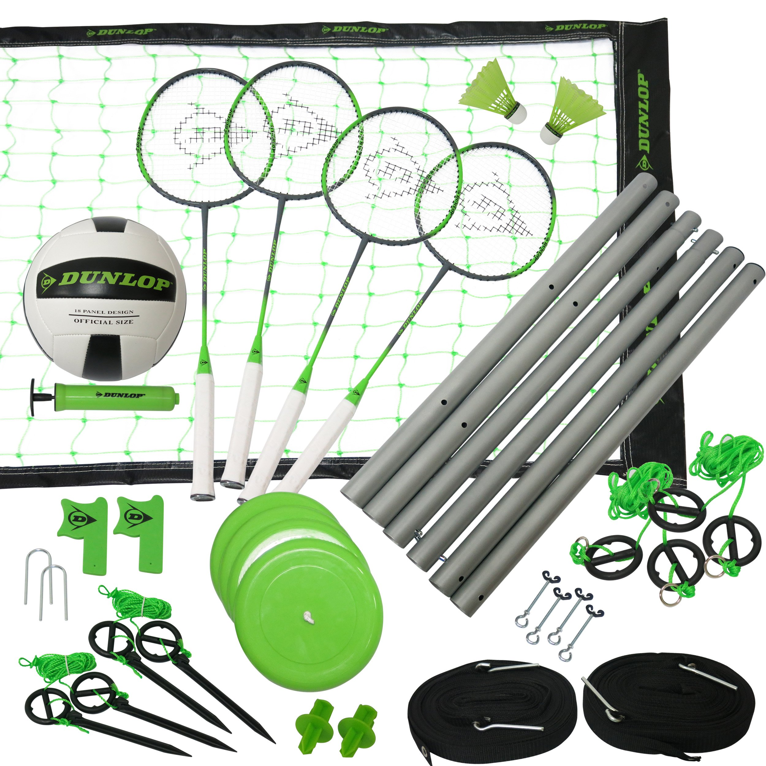 Dunlop Professional Volleyball Badminton Games: Classic Outdoor Lawn Game Set with Carry Bag