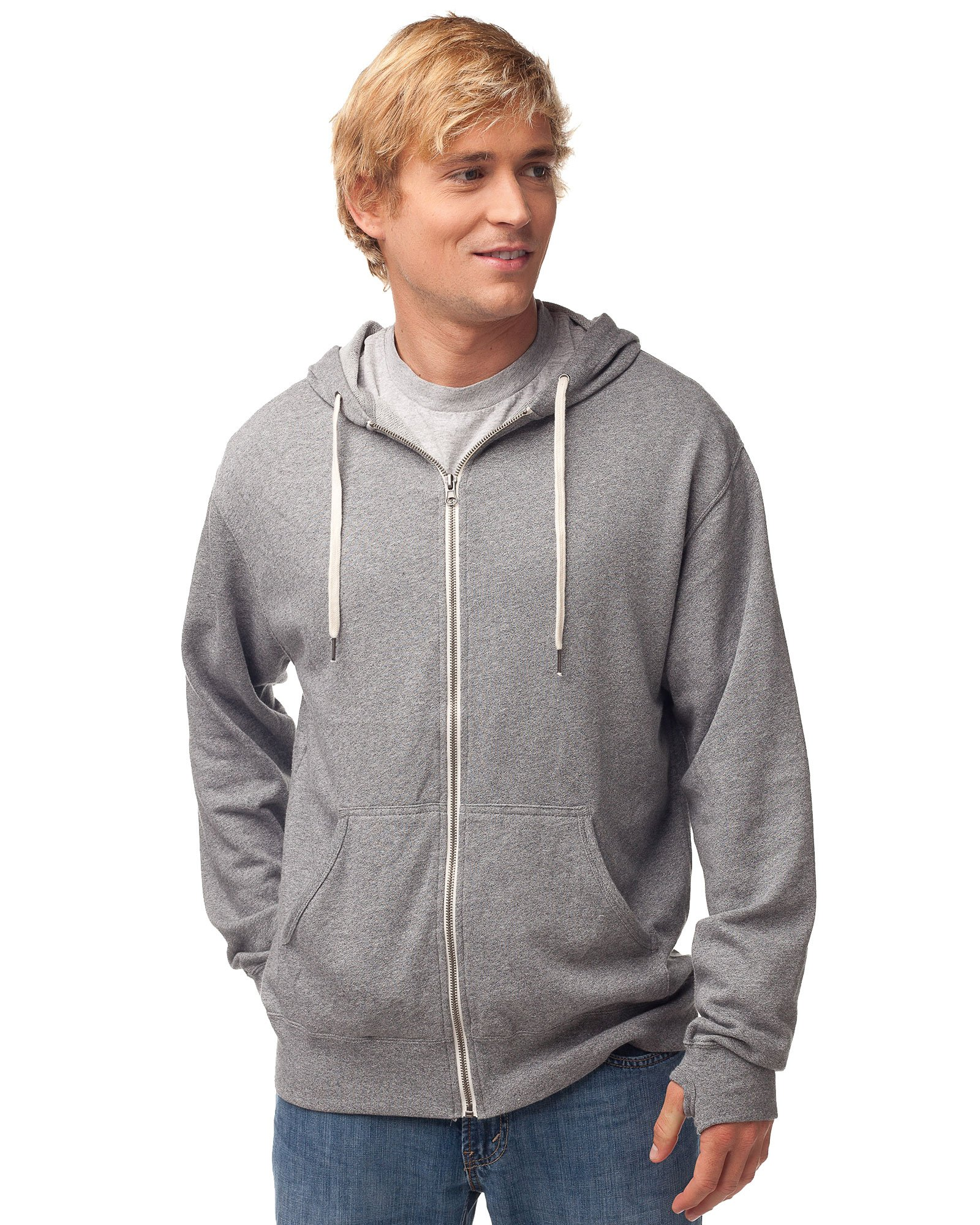 Global Blank Slim Fit French Terry Lightweight Zip Up Hoodie for Men and Women XS Salt Pepper