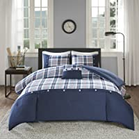 Comfort Spaces Comforter Set Perfect for College Dormitory, Guest Room Bedding, Twin/Twin XL, Harvey Blue Plaid