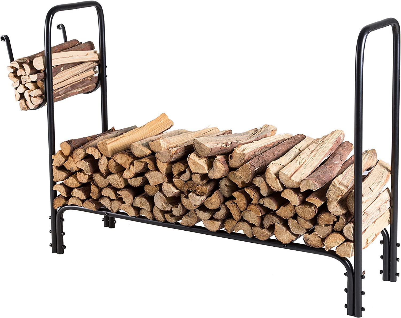 MyGift Modern Black Metal Firewood//Fire Log Storage Rack
