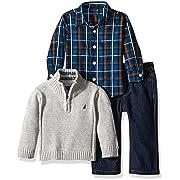 Nautica Baby Three Piece Set with Woven, Quarter Zip Sweater, Denim Jean, Grey Heather, 6-9 Months