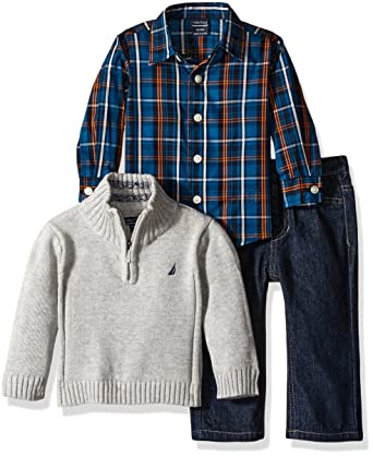 Nautica Baby Three Piece Set with Woven, Quarter Zip Sweater, Denim Jean, Grey Heather, 18 Months