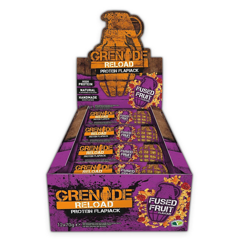 Grenade Reload Protein Flapjacks Fused Fruit - 12 Barras: Amazon.es: Salud y cuidado personal