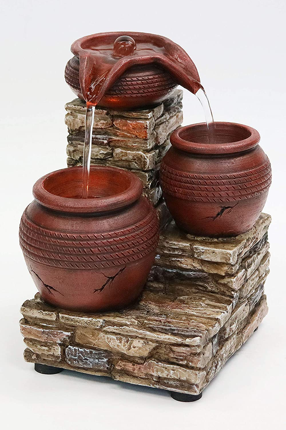 """Newport Coast Collections 7"""" H Brick & Urns LED Water Fountain (No Adapter)"""