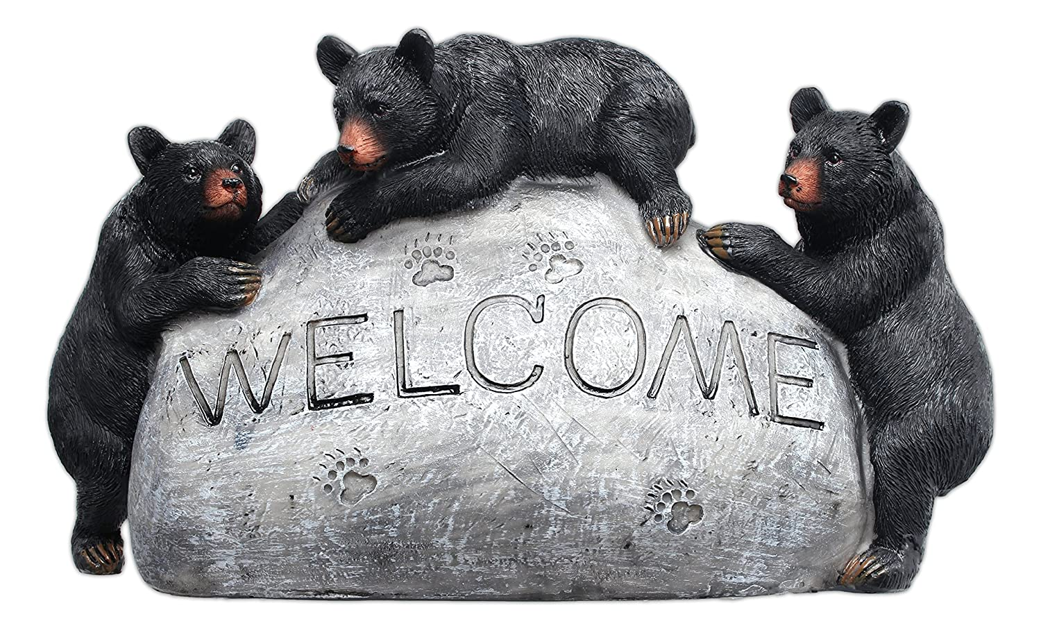 """MayRich Co. 8"""" x 5"""" Black Bear """"Welcome"""" Decorative Faux Stone"""