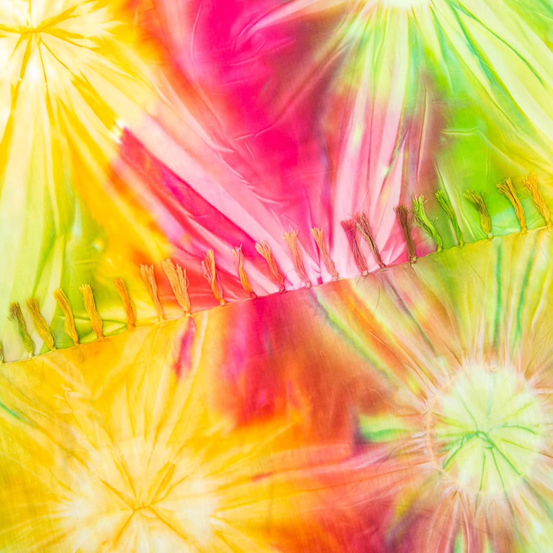 MANUMAR pareo mare donna opaco XXL grande formato 215 x 115 cm,telo abito estivo in look hippie telo mare sarong Sunbeam rosa fluorescente giallo bikini wrap cover up sauna lunghi beach dress