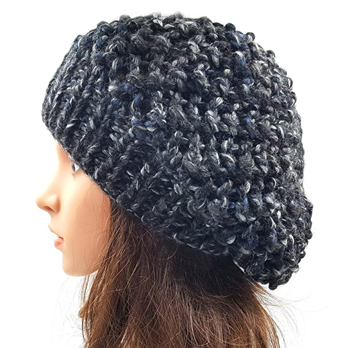 478019cb162ac Magic Needles - Winter Woolen Cap (Handmade Womens Netted Slouchy Beanie -  Faded Black  Amazon.in  Clothing   Accessories