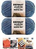 Bernat Maker Home Dec Corded Yarn Bundle 2 Skeins with 4 Patterns 8.8 Ounce Each Skein (Steel Blue)