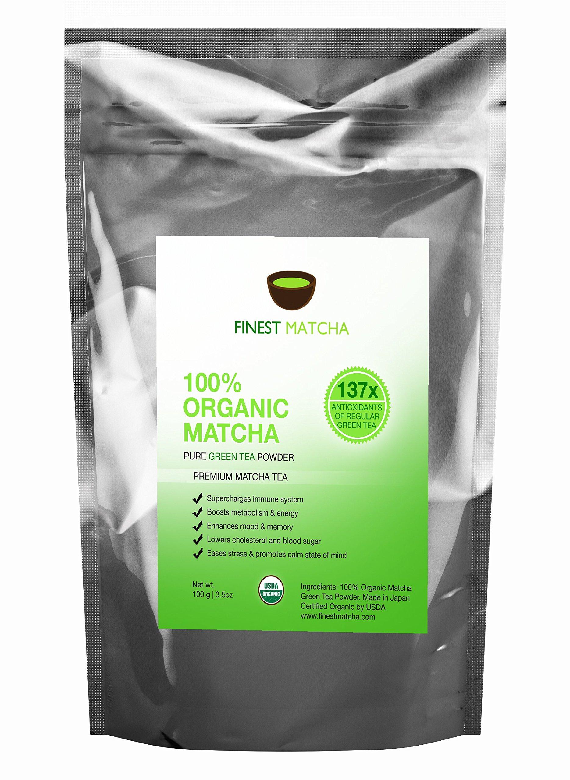 Matcha Green Tea Powder, 100% Organic Japanese Premium Matcha - Fat Burner, Energy Booster, 137 x Antioxidants, 100g