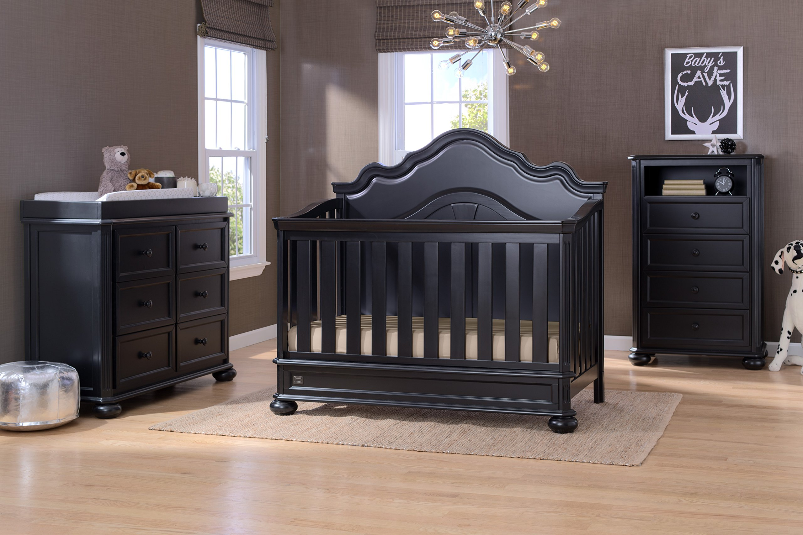 Nursery Furniture Set With Convertible Crib Dresser Chest Changing Top Toddler And Full Size Conversions 6 Piece Simmons Peyton Collection