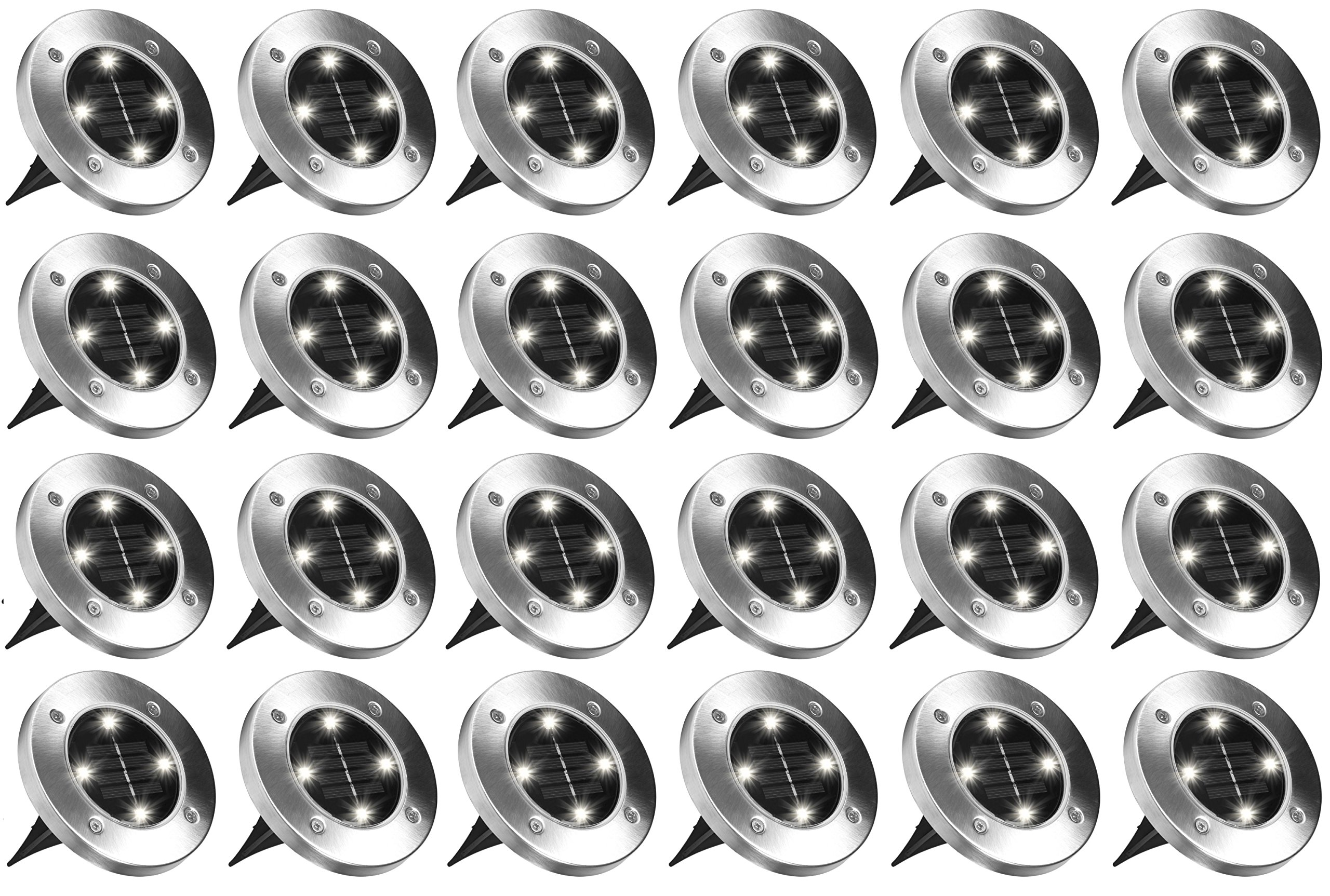 BH Disk Lights 4-LED Solar-Powered Auto On/Off Outdoor Lighting As Seen On TV (24, Regular)