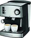 Clatronic ES 3643 Espressoautomat, Edelstahlfront, Dampfdruck 15 bar, 1,6 L, abnehmbarer Wassertank, schwarz-inox