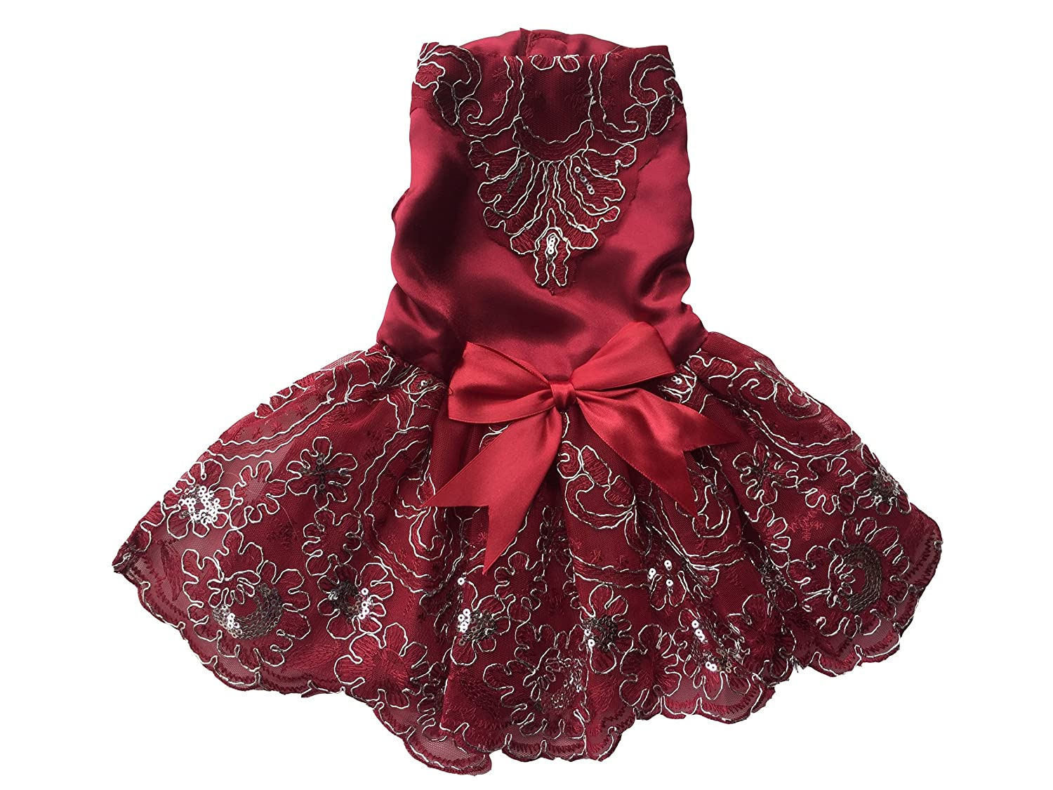 Burgundy S Burgundy S Vedem Pet Dog Floral Embroidered Lace Wedding Dress (S, Burgundy)