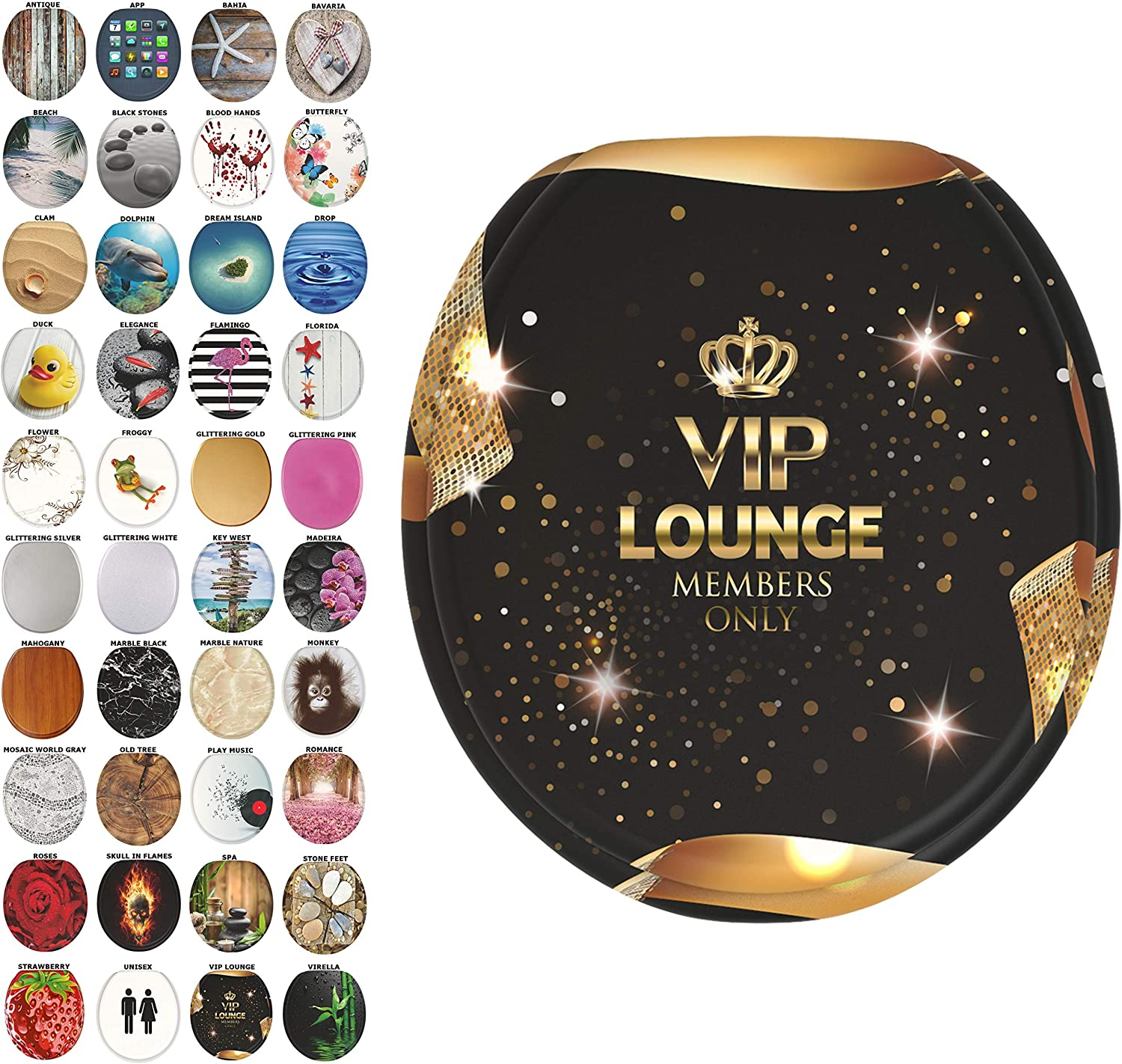 Sanilo Round Toilet Seat, Wide Choice of Slow Close Toilet Seats, Molded Wood, Strong Hinges (VIP-Lounge)