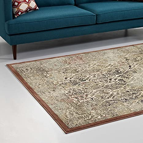 Amazon Com Modway Hester Ornate Turkish 8x10 Vintage Area Rug In Tan And Walnut Brown Furniture Decor