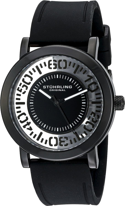 Stuhrling Original Men's 830.03 Symphony Quartz Tranparent Floating Dial Black Rubber Strap Watch
