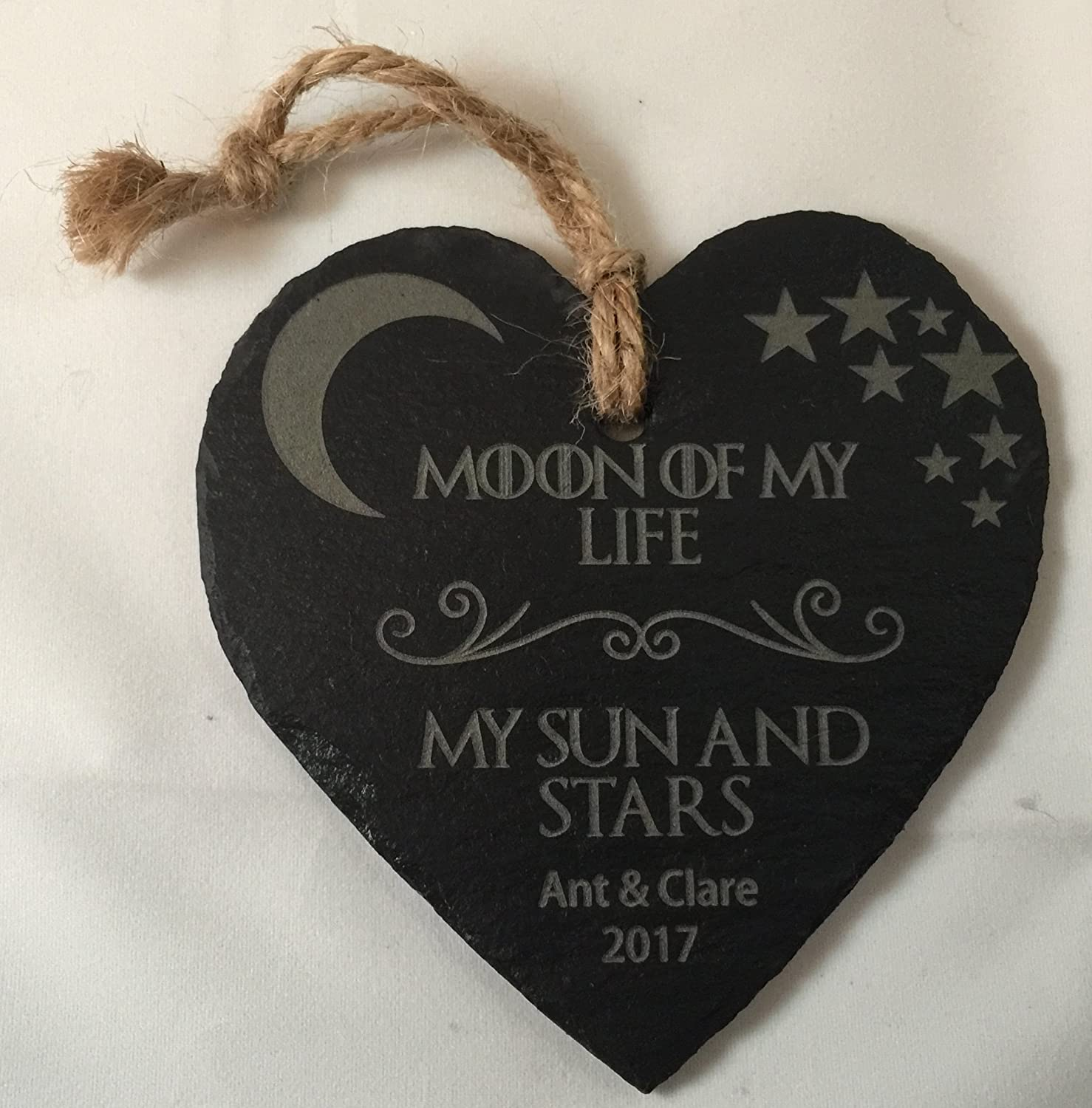 Game Of Thrones Inspired Khaleesi Moon Of My Life My Sun And Stars Personalised Hanging Slate Heart Valentines Gift Amazon Co Uk Kitchen Home