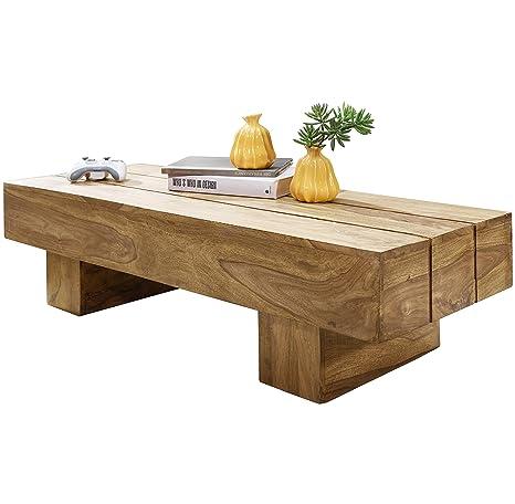 Wohnling WL1.439 - Mesa de centro de madera maciza de acacia, 120 x 45 x 30 cm