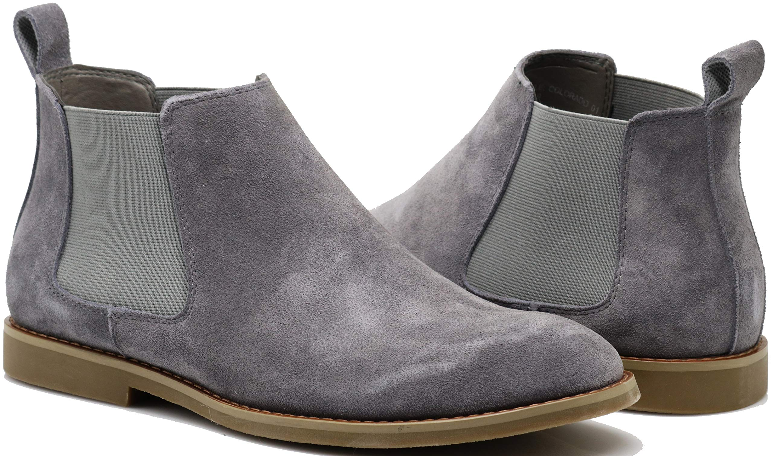 Enzo Romeo CO01 Men's Chelsea Boots Dress Fashion Slip On Suede Leather Ankle Boots (10.5 D(M) US, Grey)