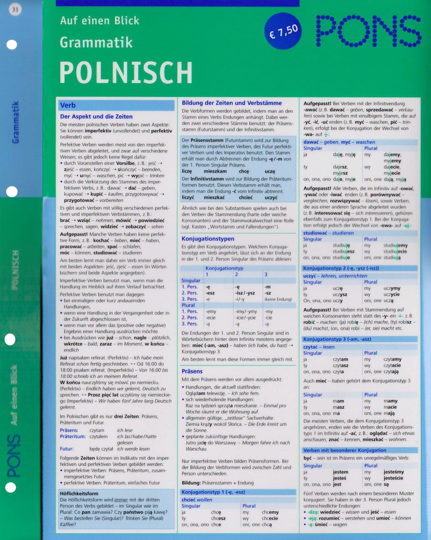 PONS Grammatik auf einen Blick Polnisch: kompakte Übersicht, Grammatikregeln nachschlagen