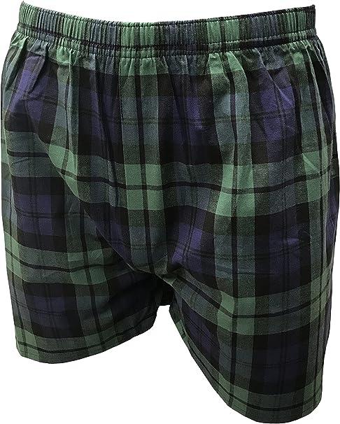 Para hombre de tartán escocés tipo bóxer – 100% algodón Verde Reloj Negro extra-large: Amazon.es: Ropa y accesorios