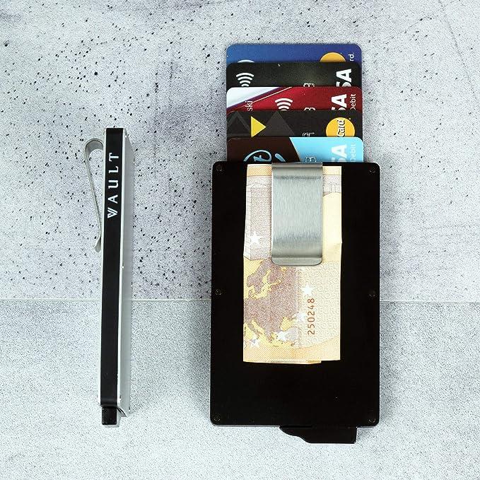 VAULT Wallet Porte-Cartes avec Blocage RFID pour Cartes Cash Cash ID de permis de Conduire Portefeuille en Aluminium Ultra-Fin pour Carte de cr/édit//d/ébit sans Contact pour Hommes//Femmes//Unis