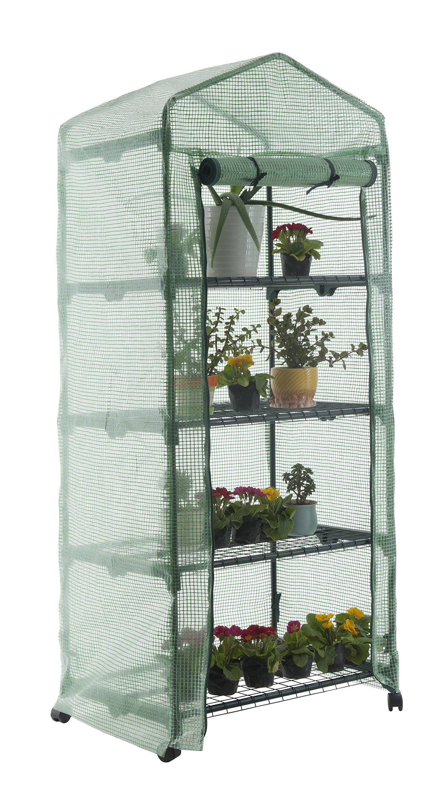 GOJOOASIS 4 Tier Mini Portable Garden Greenhouse on Wheels Plants Shed Hot House for Indoor and Outdoor by GOJOOASIS (Image #5)