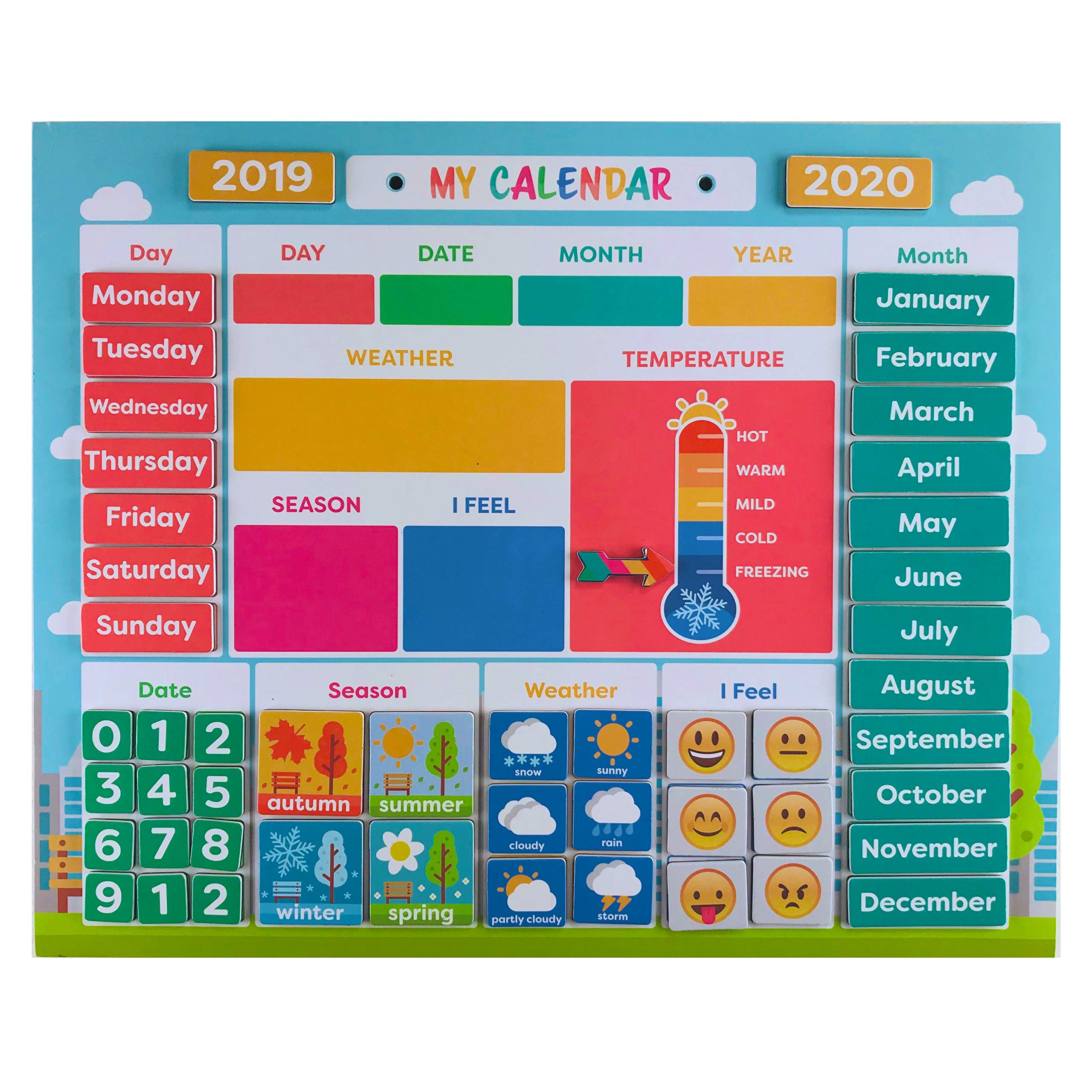 My First Daily Magnetic Calendar | Weather Station for Kids | Moods and Emotions | Preschool Learning Toys | Classroom Calendar Set |Usable on Wall or Fridge by pneat