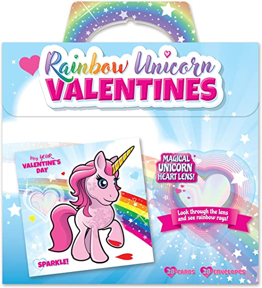 Unicorn Gel Cling Valentines cards school classromm exchange gift with unicorn themed window door locker cling 2 PACKS of 16 cards and gel toy