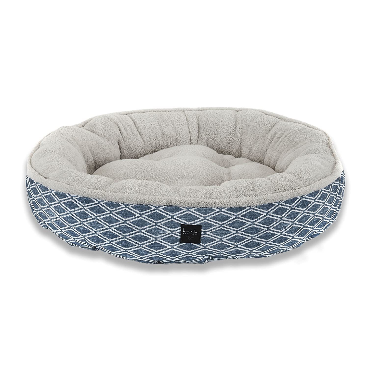 bluee Diamond 30 Inch RoundHome Dynamix HD119444 Nicole Miller Comfy Pooch Pet Bed, 30 Inch Round, Teal Polkadots