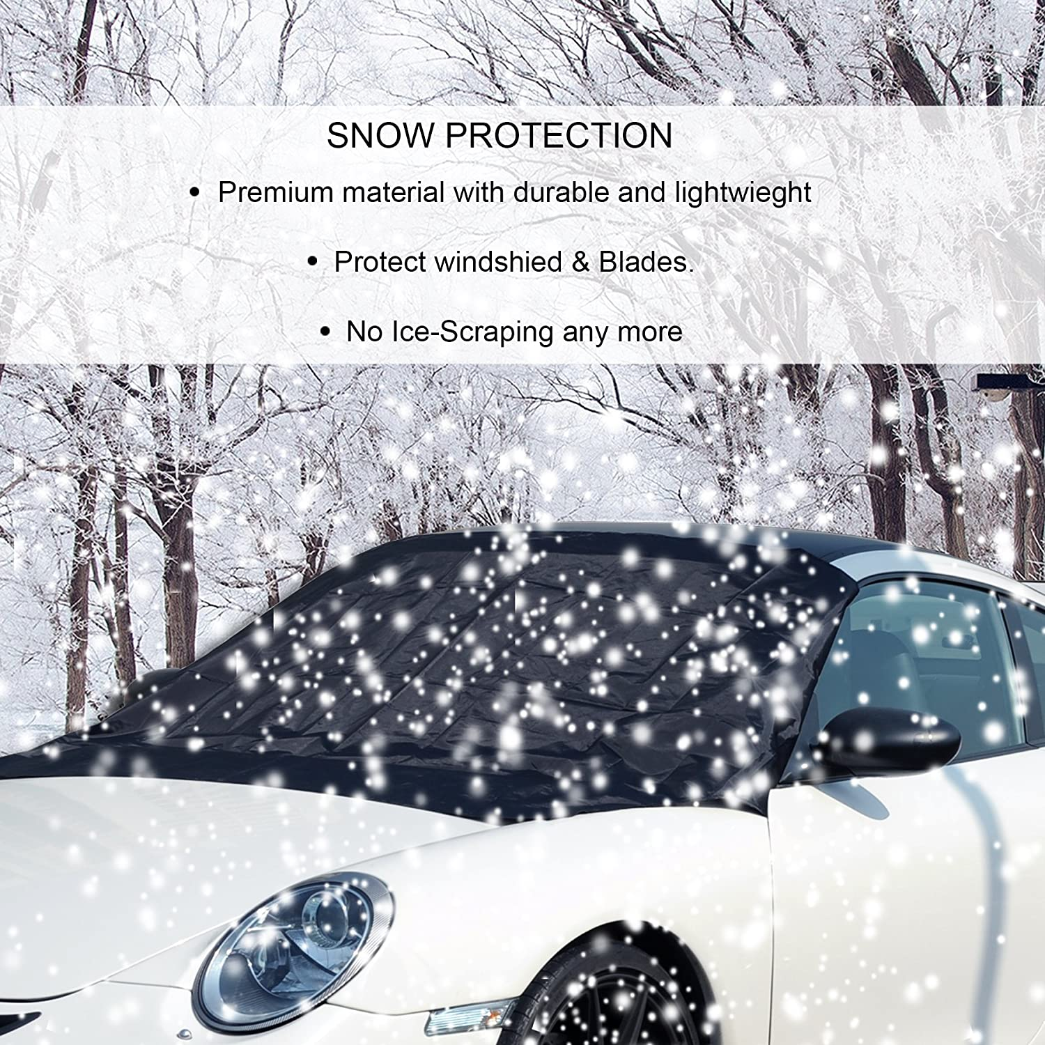 No Ice Scraping Waterproof Windproof Durable Material Outdoor Cover Fit All Cars 10 Magnets Standard Size 58x84 CARADDICTS Windshield Cover Ice Snow Magnetic Shade Frost Dust Rain Resistant 6S
