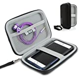 Hard Shell iPod Portable Travel Case for Apple iPod Touch (7th, 6th, 5th Generation) iPod Nano with Protective EVA Design, Weather Resistant Exterior, Wrist Strap by USA Gear - Black