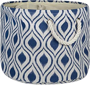 DII CAMZ10028 Collapsible Polyester Storage Basket or Bin with Durable Cotton Handles, Home Organizer Solution for Office, Bedroom, Closet, Toys, Laundry, Medium Round, French Blue