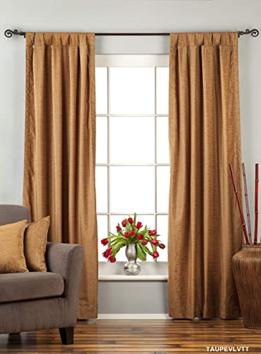 Indian Selections Lined-Taupe Tab Top Velvet Curtain/Drape/Panel