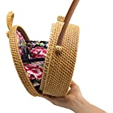 Busy Mom Round rattan woven bag with linen and butterfly buttons woven handbags