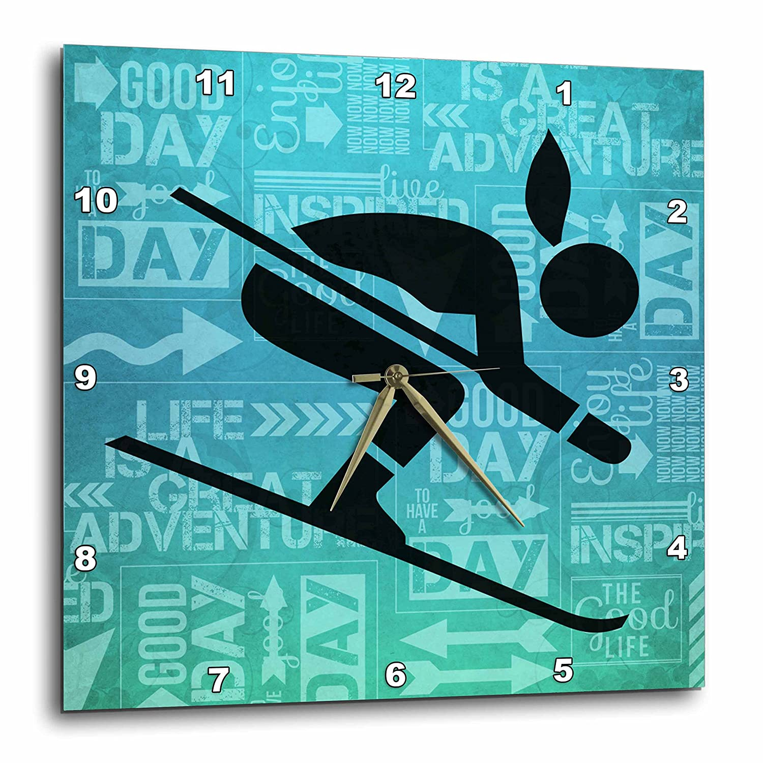 13 by 13-Inch 3dRose DPP/_173213/_2 Downhill Skier Silhouettein Blue Hues with Adventure Word Art Wall Clock