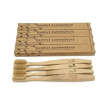 Bambú Cepillo de dientes – Marie Natural – Mano de cepillo de dientes de bambú sostenible