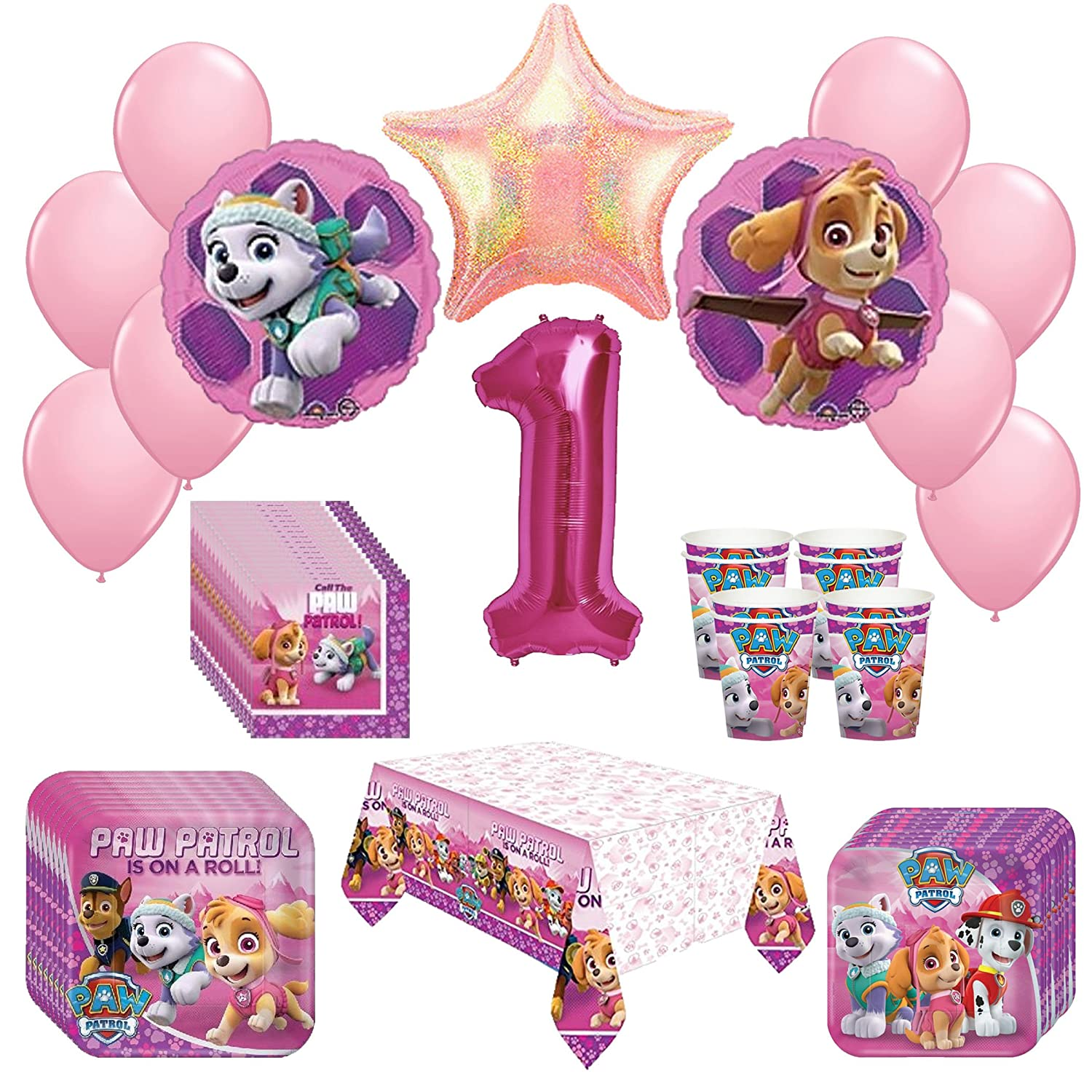 Amazon Girl Pups Paw Patrol Skye Everest 1st Birthday Party Pack 52pc Toys Games