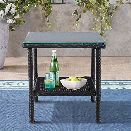 Patio Side Table Coffee Table Tea Table PE Rattan Outdoor Indoor Square Table Balcony Small Table Black